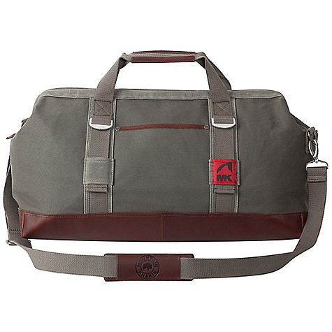 Entertainment Features of the Mountain Khakis Cabin Duffle Bag Zippered Jaw Opening Main Compartment, Leather End Tabs with Snap Closure Exterior Slip Pocket, Side Compression Straps Leather Bottom and Trimmed Haul Handles Removable Interior Organization Panel, MK Antique Silver Bison Rivets Removable Shoulder Strap with Embossed Leather Pad Leather Zipper Pull, Red Flag MK Label - $224.95