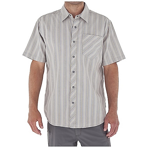 Entertainment Free Shipping. Royal Robbins Men's Stinson Stripe S-S Top DECENT FEATURES of the Royal Robbins Men's Stinson Stripe Short Sleeve Top Tonal stitching details Drop-in chest pocket Bias detail at center back collar, center front placket and chest pocket Chevron detail at back yoke Shirt tail hem The SPECS Regular fit Fabric: 4.25 oz 55% Cotton / 45% Polyester - $54.95