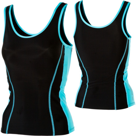 Fitness Your grandmother, who is always nagging you about your posture, would be overjoyed to see you in the SKINS Womens Tank Top. Targeted compression in the top helps you maintain good posture, which helps you breathe more easily; key muscles are also supported and stabilized to improve your performance. This stretchy, body-hugging workout enhancer also features strategically placed vent panels to maximize breathability, as well as a supportive built-in shelf bra and flatlock seams to prevent chafing. - $9.50