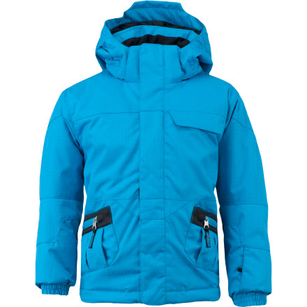 Snowboard For chilly mountain adventures, outfit your tiny terror with the insulated warmth and water-resistant protection of the Spyder Toddler Boys' Mini Armageddon Jacket. A fulltime hood shields his head from the elements while he rolls in the snow, and 10K waterproof breathable fabric keeps snow out and helps release moisture from within when he works up a sweat. Frigid conditions generally mean a runny nose, so Spyder added soft nose wipes to the back the Armageddon's sleeves. - $25.99