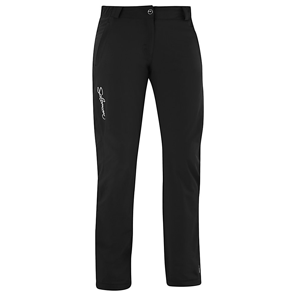 Ski Salomon Nova III Softshell Womens Ski Pants - The Salomon Nova III Softshell Pants are designed for the athletic woman in mind who wants to be active even in the cold weather. Lightly insulated with ActiTherm, you'll have a comfortable fleece keeping the heat trapped so you can feel warm and comfortable while outdoors. The ClimaWind TW Softshell is great at blocking the wind from reaching you. Whether you're cross-country skiing or jogging in the wintertime, you'll love the feel and comfort of the Salomon Nova III Softshell Pants. . Exterior Material: ClimaWind TW Softshell, Softshell: Yes, Taped Seams: None, Thigh Zip Venting: No, Suspenders: None, Articulated Knee: No, Low Rise: No, Warranty: Three Year, Race: No, Waterproof: Not Specified, Breathability: Not Specified, Use: Outdoor, Type: Shell, Cut: Regular, Waist: Adjustable, Pockets: 1-2, Model Year: 2013, Product ID: 291502 - $91.99