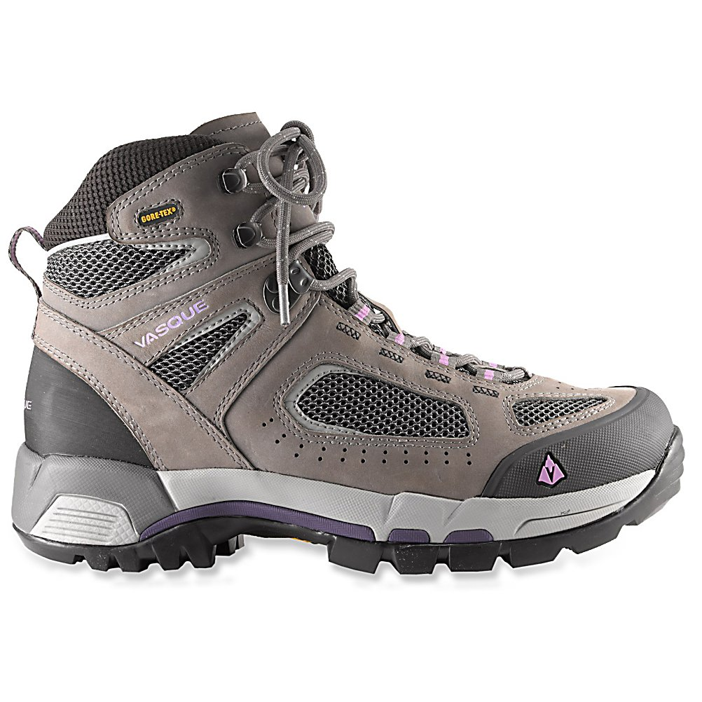 Camp and Hike Vasque Breeze 2.0 GTX Womens Hiking Boots - Lighter, tougher and more breathable, the Vasque Breeze 2.0 Womens Hiking Boots have been redesigned to give you the support and durability needed to keep your feet feeling comfy when on a day-long hiking adventure. You'll have a Waterproof Nubuck Leather Upper which will keep the water from seeping in and ensure you have a durable and reliable pair of boots to handle the outdoors. A Molded Rubber Toe Bumper adds some protection against knocking your toes into rocks, branches or other unforeseen obstacles. The Arc Tempo Last is ideal for agility and quick foot turnover for those dealing with technical ground. Reflective piping is there for safety when the sun begins to set and Gore-Tex Technology gives you unprecedented breathability and waterproofness so your feet stay dry and comfortable longer. Cool and athletic, cute and tough, these light Vasque Breeze 2.0 Hiking Boots is a remastered classic for today's most challenging trails. . Warranty: One Year, Waterproof: Yes, Insulated: No, Model Year: 2013, Product ID: 306584, Sole Material: Dual Density EVA, Type: Boot, Material: Nubuck Leather - $79.90