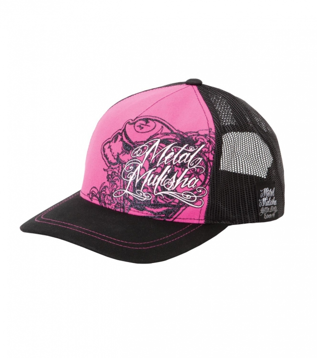 Motorsports Metal Mulisha Maidens Trucker Hat.  Snapback tracker hat; pink twill front panel with black glitter screen print; and black satin under visor. - $16.99