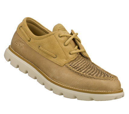 Iconic design and premium materials fuse with innovative SKECHERS GOimpulse Sensor technology to achieve the ultimate in comfort and style.  SKECHERS On the GO - Connection has a smooth leather and suede upper in a dressy  casual lace up boat shoe design. - $80.00