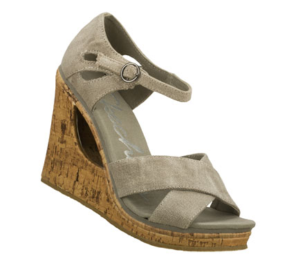 Entertainment Let your style dominate in the SKECHERS Cali Loveshine - Take Over sandal.  Soft woven canvas fabric upper in a wedge heeled dress casual sandal with cork wedge and heel panel. - $50.00