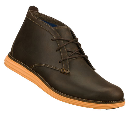 Smooth refined style with a fun side comes in the Mark Nason SKECHERS Lukas boot.  Smooth premium leather upper in a lace up casual chukka ankle boot with stitching accents and contrast comfort sole. - $89.00