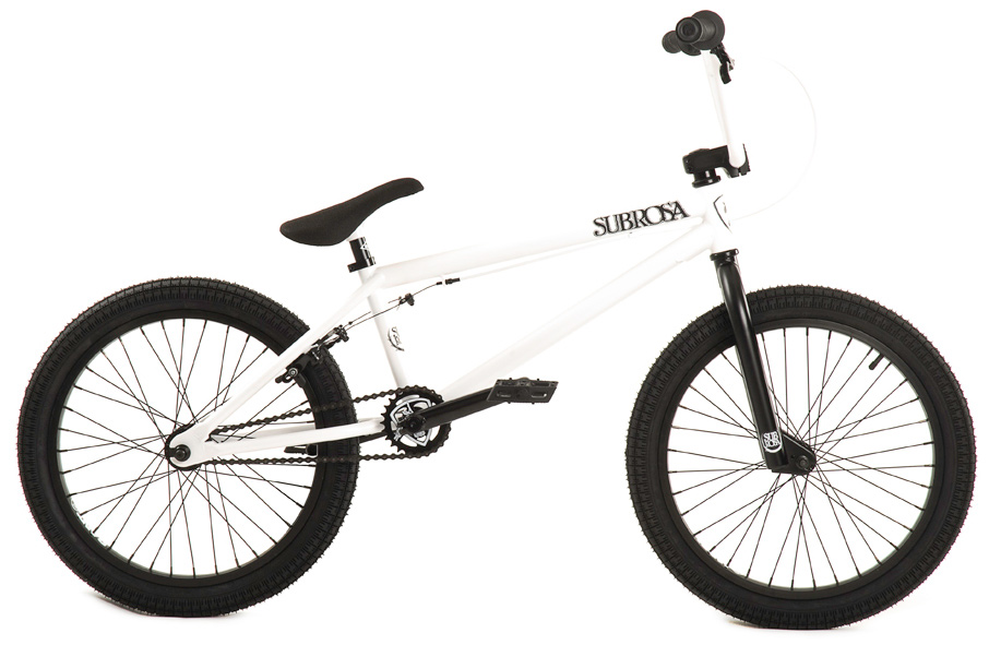 "BMX Key Features of the Subrosa Tiro BMX Bike 20"": FRAME:1020 Hi-Tensile Steel - 75 degree HT / 71 degree ST / 20.5"" TT / 13.75"" CS / 8.5"" standover height FORK: 1020 hi-tensile steel - 35mm offset BARS: 1020 hi-tensile steel - 7.75"" rise / 12 degree degree / 1 degree upsweep / 28"" wide GRIPS: Shadow Thirteen BAR ENDS: Shadow Nylon Push In HEADSET: 1 1/8"" threadless headset STEM: Rant alloy front load RIMS: Rant alloy 36H FRONT HUB: 3/8"" steel front hub REAR HUB: Rant 14mm Alloy Semi-Sealed Cassette TIRES: 20 x 2.20 CRANKS: Rant Heat Treated Seamless Tubular 3pc. 8T 175mm Chromoly with Sealed Mid BB SPROCKET: Subrosa Shield steel sprocket GEARING: 25-9 CHAIN: Rant 1/8"" PEDALS: Rant Plastic BRAKES: Alloy U-brakes w/ Straight Cable and Alloy Lever SEAT: Shadow Solus Slimmer 1pc Seat / Post combo SEAT CLAMP: Slim style alloy WEIGHT: 26 lbs - $299.95"