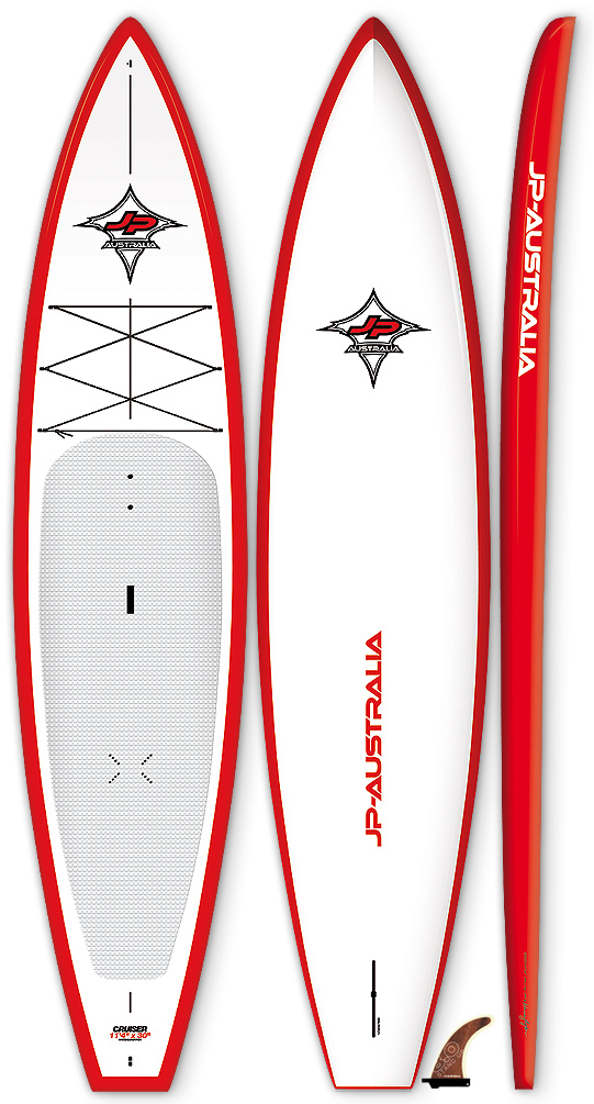 "This fast and fun board can also be used to race in the popular 12'6in class.Key Features of the JP Australia Cruiser WS SUP 12ft 6in x 30in: WS - Wood Sandwich technology with matt finish and glossy rails FAST AND FUN The perfect all-round cruising and touring boards. The boards come with a displacement bow flowing into a flat gliding bottom with soft rails. This creates a long efficient water line offering a superior paddling sensation on flat water - all on a very stable platform. Length(cm): 381 Width (cm): 76 Volume: 300 Weight (kg): 12.8 Fins: Stand Up 9.0"" (US) Shaper: Werner Gnigler - $1,702.95"
