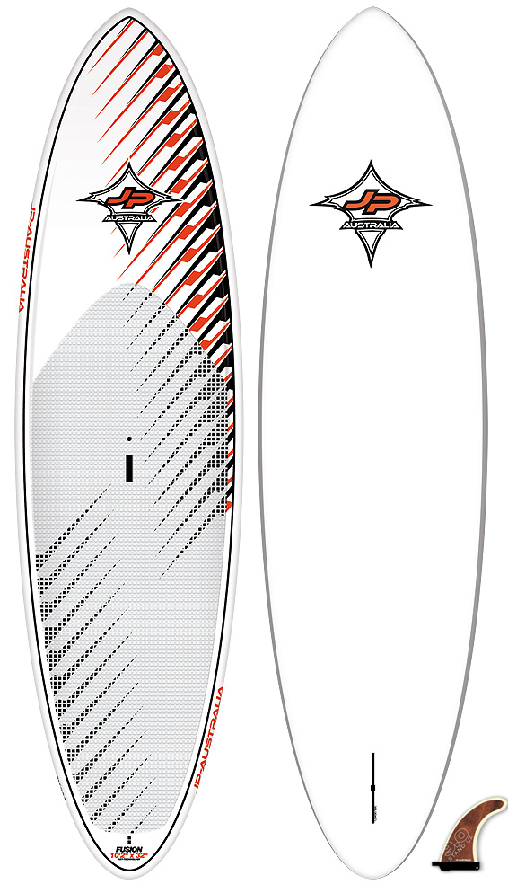 "Surf Key Features of the JP Australia Fusion AST SUP 10ft 2in x 32in: AST – AST technology WAVE ORIENTED ALLROUND BOARDS These multi-purpose SUPs have a different shape concept and are slightly more wave oriented than the JP Allround boards. They are shorter, wider and have more volume. They also feature more pointy noses which gives them a modern surf board look. Length(cm): 311 Width (cm): 82 Volume: 170L Weight (kg): 11.6 Fins: Stand Up 8.0"" (US) 2x FCS M5 4.6"" (FCS) Shaper: Stand Up 9.0"" (US) - $1,099.00"
