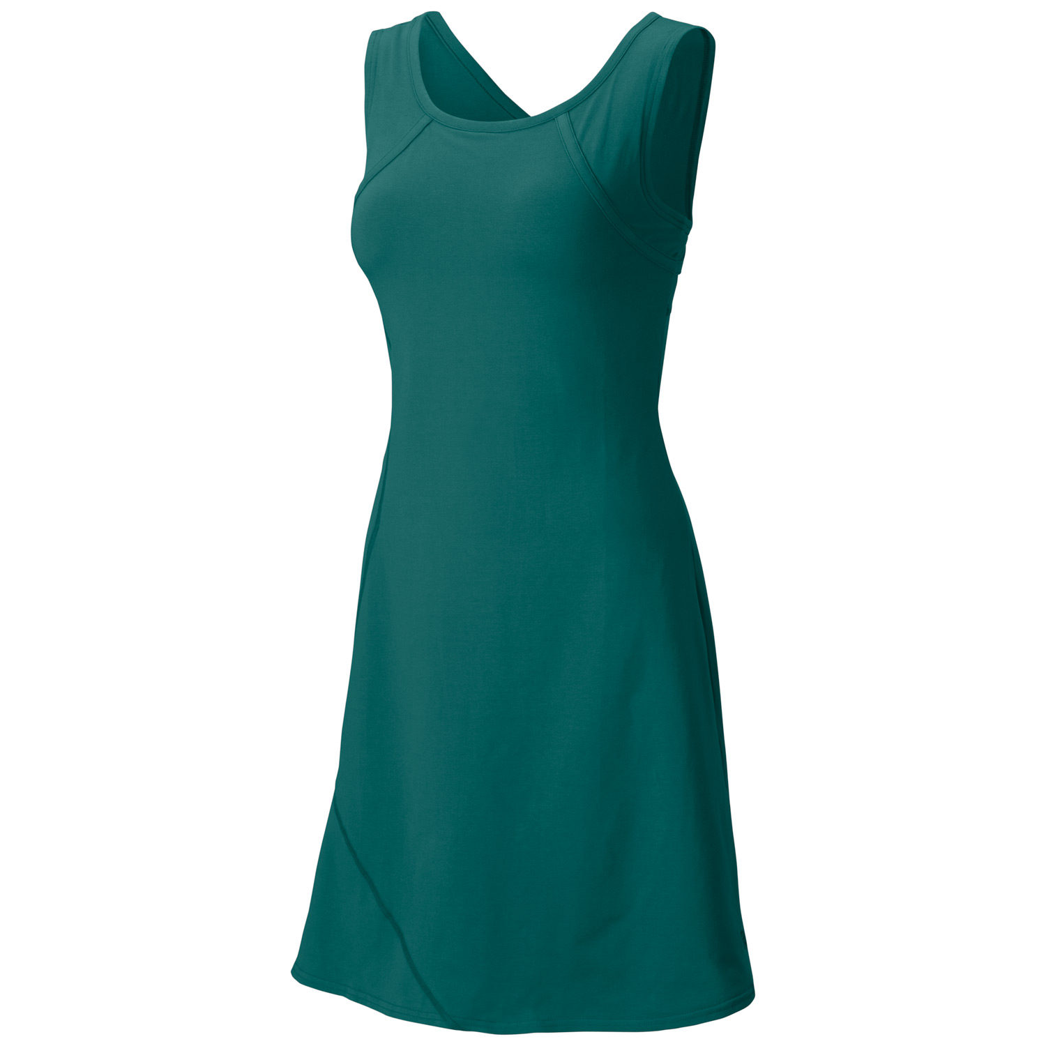 "Entertainment If you can pack just one dress, make it the Loess. Mornings on the beach and evenings at the bistro, this soft organic cotton dress does it all, with a clean, form-fitting cut and a racerback design for fluid movement.Key Features of the Mountain Hardwear Loess Dress: Update: style lines, thinner neck binding, pocket placement Integrated shelf bra for support Flattering scooped neckline Flat-lock seam construction eliminates chafe Comfy cotton and hidden zip pocket make this dress perfect to just ""go"" Apparel Fit Fitted Weight11.5 oz. / 327 g. Center Back Length37"" / 94 cm BodyV6™ Stretch Jersey - $65.00"