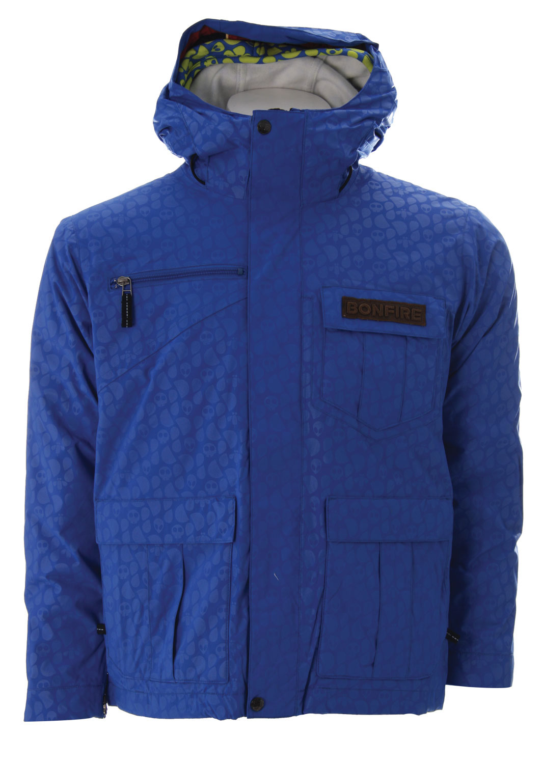 Snowboard Get the versatile advantage of outerwear that's three jackets in one. The Bonfire Exchange Snowboard Jacket for kids can be worn three ways, to suit any forecast. Wear the poly-fill insulated Exchange with or without its removable warm waffle lining, or wear the stylish liner by itself. Designed with a shorter street-smart silhouette, the Exchange snowboard jacket features snap attachment system, plenty of pockets for the stuff kids can't seem to live without, and name tag on the back to prevent loss or mix-up. Subtle alien head embossed jacket finish wins raves from young riders, while moms approve of the fully taped seams and inset ear-warmer panels that seal out wind, water and cold.Key Features of The Bonfire Exchange Youth Snowboard Jacket: 7,000mm waterproof 5,000mm breathability 3-in-1. 60g Polyfill Insulation with Removable Fleece Hoodue Liner Waffle Fleece Lining Fully Taped Seam Alien Embossed Plain Weave Name Tag Center Back Label Ear Toaster Panels Snap Tite Connect System A Street Savvy Shorter Fit - $74.95