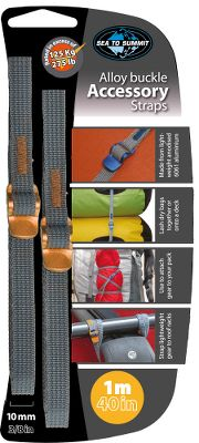 Kayak and Canoe Lash dry bags to your kayak deck, attach gear to your pack, or secure containers to your roof rack with these Sea to Summit Accessory Straps. These versatile, adventure-ready accessory straps have a quick-release buckle thats made of durable zinc-plated steel. Per 2. Available: 40L x 3/4W. Rated to 330 lbs. 40L x 3/8W. Rated to 275 lbs. 60L x 3/4W. Rated to 330 lbs. 60L x 3/8W. Rated to 275 lbs. 80L x 3/4W. Rated to 275 lbs. 80L x 3/8W. Rated to 275 lbs. Size: 20 MM 3. Type: Tent Accessories. - $9.95