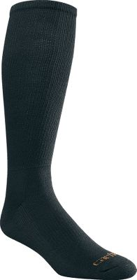 Built to wear with Western boots, these over-the-calf socks have a sturdy, nonbinding top. Reinforced heels and toes provide superior protection and durability where you need it most. Premium polyester delivers super-soft comfort, while the spandex throughout offers a contoured, foot-pleasing fit. Flat toe seams wont rub or irritate. Made of an odor-resistant blend of polyester, nylon and spandex. Made in USA. Mens size: L(6-12). Colors: Black 84% polyester, 15% nylon, 1% spandex White 83% polyester, 16% nylon, 1% spandex Carhartt Style No.: A2070. Size: L. Color: Black. Gender: Male. Age Group: Adult. Material: Polyester. Type: Socks. - $11.99