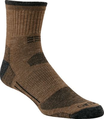 The perfect year-round socks with a quarter cut thats ideal for mid-high boots and shoes. Reinforced heels and toes provide superior protection and durability where you need it most. Premium fabrics deliver super-soft comfort, while the spandex throughout offers a contoured, foot-pleasing fit. Flat toe seams wont rub or irritate. Made from an odor-resistant blend of acrylic, nylon, wool and spandex. Made in USA. Size: L(6-12). Colors: Charcoal 50% acrylic, 32% nylon, 17% wool, 1% spandex Heather Grey 50% acrylic, 31% nylon, 17% wool, 1% spandex, 1% other fiber Brown 50% acrylic, 31% nylon, 17% wool, 1% spandex, 1% other fiber Tan 50% acrylic, 31% nylon, 17% wool, 1% spandex, 1% other fiber Carhartt Style No.: A561. Size: L. Color: Brown. Gender: Male. Age Group: Adult. Material: Acrylic. Type: Socks. - $11.99