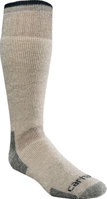 Built to wear with boots, these calf-length socks have arctic-weight wool to keep you warm on the coldest days. Reinforced heels and toes provide superior protection and durability where you need it most. Premium wool offers moisture-wicking comfort, while the spandex throughout offers a contoured, foot-pleasing fit. Flat-toe seams wont rub or irritate. Odor-resistant blend. Made in USA. Mens sizes: L(6-12), XL(11-15). Colors: Heather Grey 85% wool, 6% nylon, 1% spandex, 8% other fiber Moss 85% wool, 6% nylon, 1% spandex, 8% other fiber Carhartt Style No.: A3915. Size: L. Color: Gray. Gender: Male. Age Group: Adult. Material: Wool. Type: Socks. - $18.99