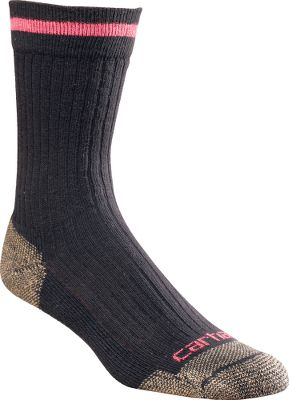 Designed for steel-toe boots, these fully cushioned, crew-cut socks boast reinforced heels and toes for unsurpassed job-site durability. Soft, premium fabrics are breathable to keep your feet cool. Spandex throughout provides arch support and a contoured, foot-pleasing fit. Flat-toe seams wont rub or irritate. Odor-resistant. Made in USA. Womens size: M(5.5-11.5). Colors: Grey 61% cotton, 21% acrylic, 9% nylon, 7% polyester, 2% spandex Khaki 68% cotton, 21% acrylic, 9% nylon, 2% spandex Green 68% cotton, 21% acrylic, 9% nylon, 2% spandex Black 68% cotton, 21% acrylic, 9% nylon, 2% spandex Carhartt Style No.: WA615. Size: M. Color: Black. Gender: Female. Age Group: Adult. Material: Polyester. Type: Socks. - $7.99