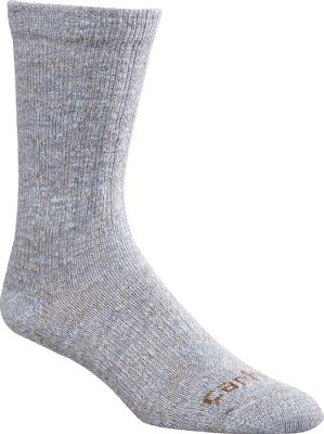 Camp and Hike These cushioned, crew-cut socks boast reinforced heels and toes for unsurpassed durability. Soft, premium cotton is breathable to keep your feet cozy and dry. Spandex throughout provides arch support and a contoured, foot-pleasing fit. Flat-toe seams wont rub or irritate. Odor-resistant. 37% cotton/37% acrylic/24% nylon/2% spandex construction. Made in USA. Womens size: M(5.5-11.5). Colors: Charcoal, Blue, Pink. Carhartt Style No.: WA309. Size: Medium. Color: Charcoal. Gender: Female. Age Group: Adult. Material: Acrylic. - $9.99