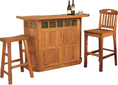 Entertainment Constructed of distressed oak and veneers and accented with stone slates, this stand-alone Sedona Bar is the perfect addition to any rustic home, cabin or office. Its inviting shape makes it easy to pull a stool up to, and the 42 height makes hosting easy. Two drawers with smooth dovetail joints and full-extension ball bearings feature dented country-style knobs. Three racks can accommodate up to 15 bottles and stemware can be stored on the hanging racks. A cabinet under each drawer allows for even more storage. The two included Slat-Back Barstools feature a 30 seat height and ergonomic, oval-shaped handle.Backless stool unavailable.Bar dimensions: 42H x 60W x 24D.Barstool dimensions: 21L x 17W x 41H. - $1,649.99