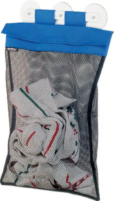 Motorsports Marine-grade fabric bag made of durable, coated mesh and 600-denier polyester. Suction cup or screw mount for laundry, line organizer or ventilated storage. Hook-and-loop flap closure. Made in USA. Dimensions: 20H x 14W. - $15.88
