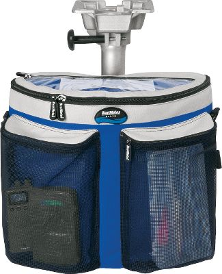 Motorsports Marine-grade fabric bags and totes made of durable, coated mesh and 600-denier polyester. Self-repairing zippers with molded pulls for easy access. Unique, half-round gear bag or cooler fits under most pedestal seats. Made in USA. Available: Gear Bag stows tools and tackle. Removeable divider with additional pockets and two large mesh exterior pockets hold gear. Clear, top zip pocket is ideal for registration. Dimensions: 16H x 8W x 13D. Cooler bag holds 24 cans and ice. Heat-sealed thermal PVC liner keeps things cold for up to eight hours. Exterior mesh pocket holds miscellaneous items. Cushioned carry strap. Quick-release snaps allow fastening two coolers or bags back-to-back. Hook-and-loop straps secure them to a pedestal. Nonskid feet. Dimensions: 16H x 8W x 13D (not shown). Color: Clear. - $21.88