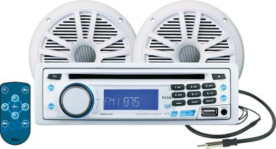 Entertainment Bring aboard your CD collection, or enjoy music from your MP3 player or iPod while out on the water. These MP3/CD/AM/FM receivers sport a front USB/auxiliary input for connecting a device, and a UV-coated detachable front panel. Operate the stereo from the other end of your boat with the included infrared remote. Package comes with four, 6-1/2, dual-cone, marine speakers with covers and a hideaway marine antenna.Stereo maximum output power: 60 x 4 watt.Speakers maximum output power: 180 watts. - $149.99