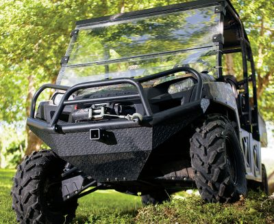 Motorsports Take your UTV into rugged territory with confidence. This winch-ready bumper has a 2 heavy-duty pipe base, a 1 pipe loop and a 12-gauge diamond plate built to protect against the roughest obstacles. Black powder-coated wrinkle finish protects against corrosion. Shackle mounts. 2 receiver. Easily mounts to factory holes. Color: Black. Type: Bumpers. - $549.99