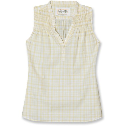 Entertainment The Aventura Maxwell sleeveless shirt is so comfortable in warm weather. Yarn-dyed cotton is soft, cool and breathable. Feminine gathering at shoulders and Mandarin-style button neck. Relaxed fit. - $10.83