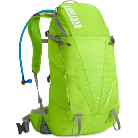 Camp and Hike A do-it all hydration pack for those on the move, the CamelBak Highwire 25 hydration pack offers 100 fl. oz. liquid capacity along with a roomy compartment, comfortable harness and attachment points. Hydration compartment loads easily, holding the reservoir flat against your back to leave more room for layers and gear. 100 fl. oz. Antidote(TM) reservoir has a welded center baffle to reduce sloshing and provide stability. Quick Link(TM) system lets you effortlessly add accessories such as a Fresh(TM) filter, insulated tube, tube director, flow meter or hanger (accessories not included). Wide-mouth port makes it easy to fill and clean the reservoir; quick-snap cap tightens in just a quarter turn. Folding arms lock into position to hold the reservoir open when drying; arms tuck out of the way around the port when not in use. Independent suspension and comfortable harness make all-day packing a breeze. Back panel is light and ventilated with snag-resistant, wide-gauge air-mesh for enhanced comfort and breathability. 1 in. webbing hipbelt is removable. Tool loops let you lash an ice axe and trekking poles to the outside of the pack. Small zippered pocket with soft lining is perfect for sunglasses and an MP3 player. CamelBak Highwire 25 hydration pack is assembled in the U.S. of domestic and imported components. Closeout. - $64.73