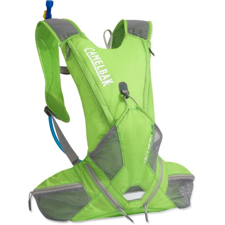 Fitness Keep properly hydrated while adventure racing or trail running with this sleek CamelBak Octane LR(TM) (Lumbar Reservoir) hydration pack. Pack is light with a streamlined fit and function. Horizontally positioned flat against your back, 70 fl. oz. Antidote(TM) Lumbar Reservoir features a low-profile shape for stability. Quick Link(TM) system lets you effortlessly add accessories such as a Fresh(TM) filter, insulated tube, tube director, flow meter or hanger (accessories not included). Air-light port with a wide mouth cuts weight and makes it easy to fill and clean the reservoir; quick-snap cap tightens in just a quarter turn. Reservoir is taste free, easy to clean and easy to fill via the large opening. Big Bite(TM) valve is ergonomically positioned for easy drinking. Air Channel back panel with breathable mesh keeps fresh air flowing across the back for enhanced ventilation and comfort. 2 zippered pockets on the hipbelt and 2 stash pockets on the front accommodate snacks and often-used essentials. The CamelBak Octane LR hydration pack features front and back reflective accents for enhanced visibility in low light. Closeout. - $69.73