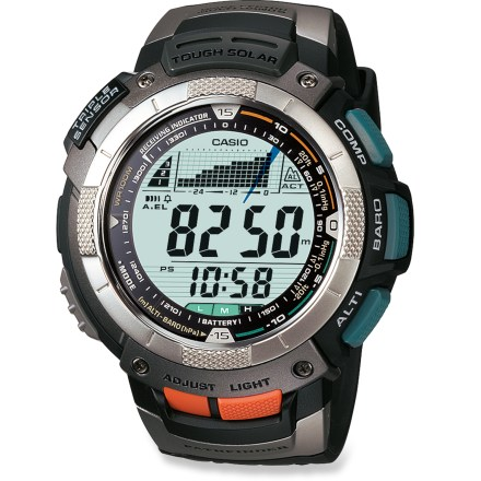 Camp and Hike This watch will do everything but walk your dog. The Casio Pathfinder Solar Atomic Multifunction Watch keeps you fully informed with its digital compass, altimeter/barometer and thermometer. Tough solar power technology eliminates the need to ever change the included battery; built-in solar panel converts sunlight and fluorescent light into energy. Atomic timekeeping function receives 4 radio signals a day to calibrate the time; it can be set to receive signals manually or atomically. Large, dual-layer LCD is easy to read and displays multiple functions simultaneously. Small sensors detect direction, altitude and temperature, keeping you in tune with the world around you. Digital compass displays current heading; reports bearing in 1deg increments. Altimeter tracks elevation gain and loss from -2,300 to 32,800 ft. (-700 to 10,000m) in 20 ft. (5m) increments. Altimeter memory captures up to 40 records of altitude, date, month and time. Altitude graph positions you with respect to your target altitude; target alarm alerts you when you obtain your goal. Detect change in the weather-barometric tendency graph charts the weather changes. Barometer tracks atmospheric pressure changes from 260 to 1,100 hPa (7.68 to 32.49 inHg). Thermometer ranges from 14 to 140degF (-10 to 60degC) measured in 0.2degF increments (0.1degC). Electroluminescent backlight activates by simply tilting your wrist 40deg toward you from the horizontal. Features 1/100 of a second stopwatch, time in 12 or 24-hr. format, date, day, auto calendar (through 2039), 5 daily alarms and hourly chime. Water resistant to 100m (330 ft.). Closeout. - $169.93