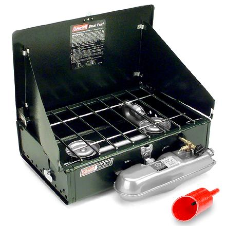 Camp and Hike The versatile Coleman Dual-Fuel(TM) 2-burner camp stove runs on white gas or unleaded auto gas so you'll always be ready to cook up a tasty meal. - $83.93