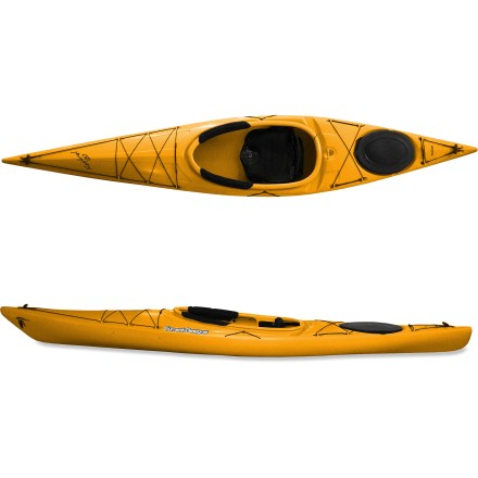 Kayak and Canoe Talk about easy to paddle! The Kestrel 120 Roto kayak from Current Designs gets you out having fun with a full array of touring features. 12 ft. length maintains speed and enhances ease of motion when you're looking to cover distance on relatively calm waters. Shallow-V hull enhances tracking and offers friendly stability and a lively feel in the water. Swede-form construction enhances speed and maneuverability, and it allows bow to punch through waves instead of riding up and over them. Rotomolded polyethylene construction offers performance, responsiveness and rugged durability. Roomy cockpit makes it easy for large paddlers to enter kayak, and sliding foot pegs lock in to adjust the fit for multiple paddlers. Seat creates a natural, comfortable paddling position by tilting the entire seat pan up and away from cockpit floor. Use the lever-lock knob-it's similar to a quick-release fork on a bike wheel-to set the seat pan to the desired height. Locking mechanism prevents both side-to-side and up-and-down motion. To prevent numbness, seat pan features a countoured space for lower vertebrae and is covered with plush, nonabsorbent, very thick padding. Seat back moves up and down and back and forth, and it articulates to move with your paddling motion. Rear hatch provides enough storage for an overnight trip and features an easy-to-use, rubberized hatch cover. Closed-cell foam bulkhead enhances flotation when rear hatch is sealed and prevents contents of rear hatch from shifting. Generous bungee rigging allows you to keep touring accessories with easy reach. Paddle keeper frees up hands when needed. Toggled carry handles ease transport of the 49 lb. Current Designs Kestrel 120 Roto kayak to the water. - $678.93