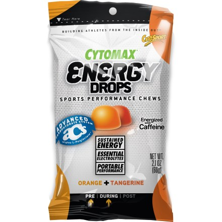 Camp and Hike Fuel up on up on long bike rides and runs with CytoSport Energy Drops(TM). They deliver a blend of carbohydrates and essential electrolytes to keep you going strong. Contains alpha-L-Polylactate(TM), an exclusive energy source that can help provide energy while lowering acid in the muscles to prevent cramping. Chews help replace the electrolytes sodium and potassium that are lost during intense activity. Orange flavor contains 50mg of caffeine per pouch; Tropical/Pomegranate flavor does not contain caffeine. No artificial sweeteners; gluten free and vegan. Each pouch of CytoSport Energy Drops contains 10 chews. - $2.00