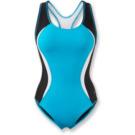 "Fitness Power through the first leg of your tri in the sleek, colorful Danskin Color Block Tri Swimsuit. Nylon and spandex fabric resists breakdown from chlorine and pool chemicals. Suit is designed with extra compression to maximize muscle support. Racerback promotes a full range of arm motion; mesh panels in front and back allow airflow when you're out of the water and on your way. The Danskin Color Block Tri swimsuit is fully lined to offer extra coverage; body length is 24 1/2"". - $43.93"
