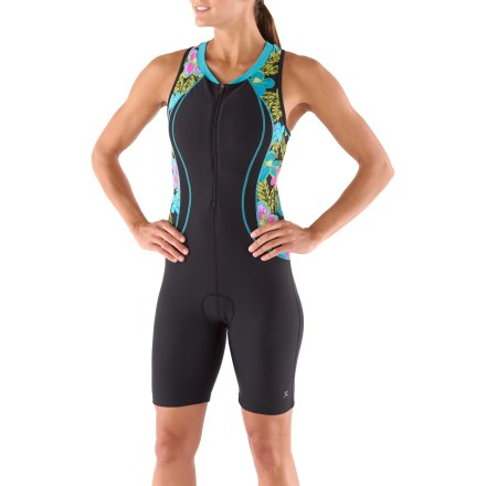 Fitness Make a splash, jump on the bike and then hit the run, all in this quick-drying, supportive Danskin Print Block Tri Suit designed to keep you comfortable throughout the race. - $26.83
