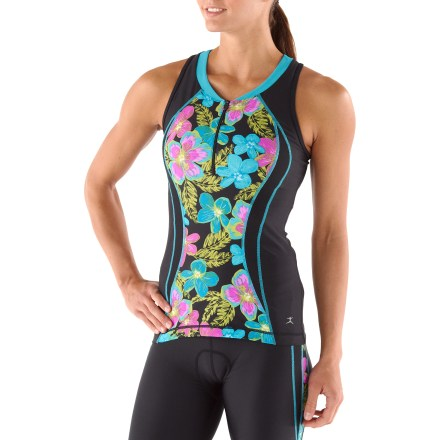 Fitness The eye-catching Danskin Print Block Tri tank top efficiently wicks moisture away from your skin to keep you comfortable when the competition heats up. - $22.83
