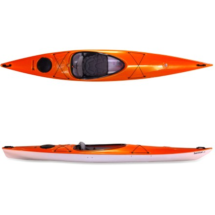 Kayak and Canoe The Hurricane Kayaks Santee 135 kayak uses simplicity and clean lines to create a streamlined kayak that is efficient and stable yet lightweight and stiff enough to get up to speed. Perfect for touring lakeshores or lazy rivers, the Santee 135 tracks well and moves efficiently through the water for an enjoyable day trip. Crisp entry lines, reliable tracking and responsive turning make the Santee 135 an outstanding boat for day touring and all-around use. Trylon thermoformed ABS plastic hull material is stiff and light and offers looks similar to traditional composite kayaks but costs considerably less. Newly redesigned AireStream seat back is lightweight and incredibly breathable thanks to a contoured support frame covered with soft mesh fabric that maximizes air flow. To adjust the seat back for personalized fit, simply pull seat back forward to unlock and adjust and then push back to relock. Large cockpit opening makes it easy to get in and out of the Santee 135 kayak. Shockcord keeper offers hands-free storage of your paddle; rear storage hatch shelters small items. Bow and stern deck rigging offers easy storage, and bulkheaded stern and bow help keep items dry. Carry handles ease transport to the water. - $890.93