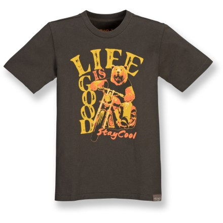 Help your young explorer stay cool with the soft, organic fabric and bold graphics of the Life is good(R) Organic T-shirt for boys. Made from certified 100% organic cotton for breathable comfort and easy care. Logo graphic blends an outdoors aesthetic with bold style. Closeout. - $7.73