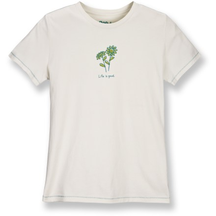 Soft organic cotton and center floral graphic make the Life is good(R) Good Karma Organic T-shirt an easy choice for warm-weather days when comfort is crucial. Made from certified 100% organic cotton for breathable comfort and easy care. Relaxed fit. Closeout. - $21.73