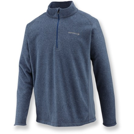 The Merrell Fractal Half-Zip fleece pullover is all about warmth and comfort-two things that never go out of style. Soft, non-pilling polyester fleece wicks moisture, dries quickly and continues to insulate even if wet. Half-length front zipper. Closeout. - $31.73