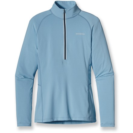 Fitness Even if it's chilly, set out for a great run in the Patagonia All Weather top. It features a sleek, contoured look and rear mesh panels to vent excess heat once your heart gets pumping. Lightweight, soft and stretchy fabric supplies an extra layer of protection and makes it easy to get going when cool temperatures sap your motivation. You can run, sweat, and wash the Patagonia All Weather top without worrying about dreaded long-term odors because the fabric is treated with a natural odor control. Deep front zipper allows for additional venting. Thumbholes keep sleeves in place to warm wrists. Reflective center-front zipper and logos. - $33.83