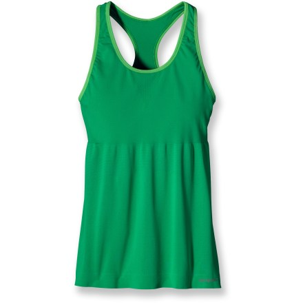 Fitness Keep your momentum in the Patagonia Gamut Sport tank top. With a built-in bra, it's all you need for a supportive workout. Polyester and spandex fabric wicks moisture and protects from too much UV light with a UPF rating of 25; fabric features a high recycled content. You can run, sweat, and wash the Patagonia Gamut without worrying about dreaded long-term odors; fabric is treated with a natural odor control. Internal bra won't bind and offers support for running. Mesh panels enhance breathability. - $33.93