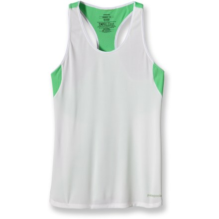 Fitness Long runs in hot weather demand the breathable comfort of the Patagonia Draft tank top. Recycled Capilene(R)1 fabric in the body wicks moisture, dries quickly and offers a UPF 15 sun protection factor. Mesh underarm panels increase breathability. Reflective logos at chest and center back increase visibility. You can run, sweat, and wash the Patagonia Draft tank top without worrying about dreaded long-term odors; fabric is treated with a natural odor control. Slim fit. - $30.93