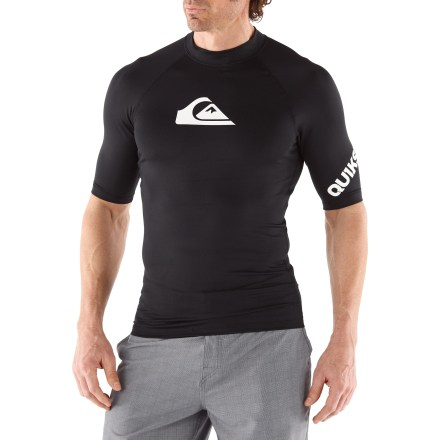 Kayak and Canoe The Quiksilver All Time rashguard makes your time with a paddle in hand just a bit more comfortable. Fabric offers a smooth touch and helps protect skin from harmful UV rays with a UPF rating of 50+. Flatlock seams reduce chafing; raglan sleeves enhance freedom of motion. Loop at hem attaches to board shorts (board shorts not included). Quiksilver All Time rashguard offers a regular fit. - $29.95