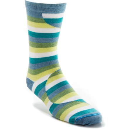 Fitness The REI Multi-Stripe crew socks offer everyday comfort in a fun, casual style. REI Multi-Stripe sock bottoms are padded with lightweight terry; legs and tops of feet are a slim flat-knit. Merino wool naturally regulates temperature in any climate, wicks moisture and resists odors. Stretch nylon provides durability; Lycra(R) spandex enhances flexibility and improves fit. Flat toe seams prevent chafing. Machine wash inside out in cold water, gentle cycle; do not iron or dry clean. *Discount will be applied when you check out. Offer not valid for sale-price items ending in $._3 or $._9. - $7.83