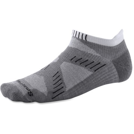 Fitness These noncushioned SmartWool PhD Ultra Light micro-height running socks are engineered for performance and comfort. Soft merino wool provides excellent temperature control, odor control and moisture management; reinforced with stretch nylon to maintain fit. SmartFit system II uses a 4-point banded compression system to deliver a secure fit above and below heels, under arches and across insteps. SmartFit system II incorporates a contour flex zone at the front of each ankle to eliminate bunching, slipping and sagging. Features padded Achilles tabs to protect the Achilles and help secure the fit. High-density impact zones under heels and forefeet (where impact is greatest) protect against shock and abrasion. Low-density zones under arches and at achilles reduce weight without sacrificing fit or support. SmartWool PhD Ultra Light micro-height running socks feature strategic mesh zones for maximum ventilation in critical areas to vent perspiration and heat. Closeout. - $8.73