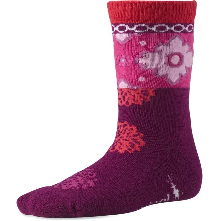 Colorful and fun, the SmartWool Kilim Patchwork socks supply well-known SmartWool performance to keep girls' feet dry and comfortable. SmartWool socks are guaranteed not to itch and can be repeatedly washed and dried without shrinking. Stretch fibers from top to toe deliver all-day comfort. SmartWool Kilim Patchwork socks feature soft comfort cuffs that don't bind yet offer stay-up power. Closeout. - $6.73