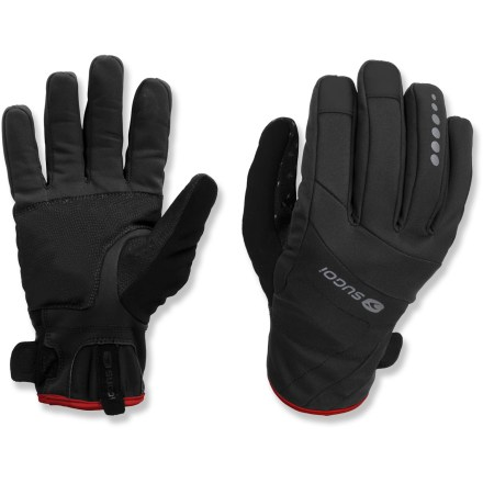 Fitness Fending off the elements, the Sugoi Firewall GT gloves keep hands warm while you're commuting, racing or simply enjoying a ride. Firewall fabric blocks out the wind, rain and cold while dispersing moisture and warmth; polyester lining is soft against skin. Polyurethane accents on finger pads and palm enhance grip. Terry cloth thumb patch looks after leaky noses. Cuffs with rip-and-stick closures secure the fit. Closeout. - $34.73