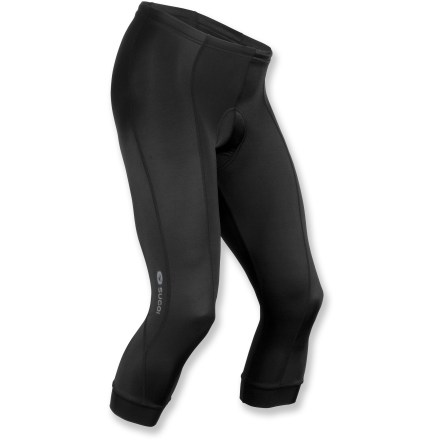 Fitness Offering comfortable, lightweight coverage, the Sugoi RPM bike knickers for women feature contoured seams, a performance chamois and fabric that wicks away moisture and circulates air. Fabric blend dries quickly dries, wicks moisture and provides muscle support. 4-way stretch side panels of chamois padding allow unrestricted movement and feature a 1-piece construction that eliminates seams. Chamois padding features welded lines that provide channels for ventilation, pressure relief and flexibility. Chamois features a brushed synthetic knit surface for comfort against skin. 8-panel construction follows body contours for full muscle support. Flatlock stitching is soft and non-chafing next to skin; reflective logos on both legs increase visibility in low light. Sugoi RPM knickers feature 2 in. wide hem bands to keep leg cuffs in place. Elastic waistband and drawcord let you customize the fit. Closeout. - $53.93