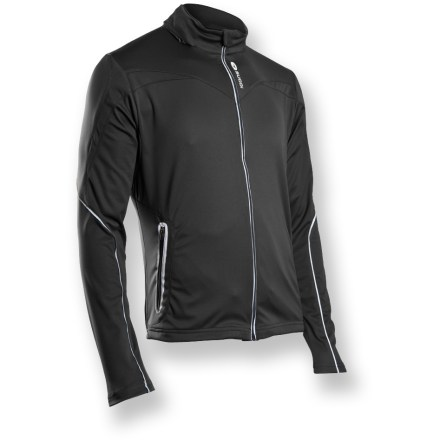 Fitness Can't stand the thought of cold weather pushing your workouts indoor? The Sugoi Firewall 180 bike jacket offers stellar performance with a stretch thermal interior and weather-protective exterior. Stretch-knit, laminated polyester guards against wind and water; ample stretch allows free range of motion. Super lightweight hood stows away inside collar. Plush collar and soft draft flap guard against cold wind and zipper abrasion. Adjustable shockcord can be accessed from both front pockets. Reflective elements on sleeves, pocket zippers and front zipper boost your visibility to motorists. Men's Sugoi Firewall 180 jacket has and average weight of 15 oz. Semifitted cut is not too loose and not too tight. - $68.73